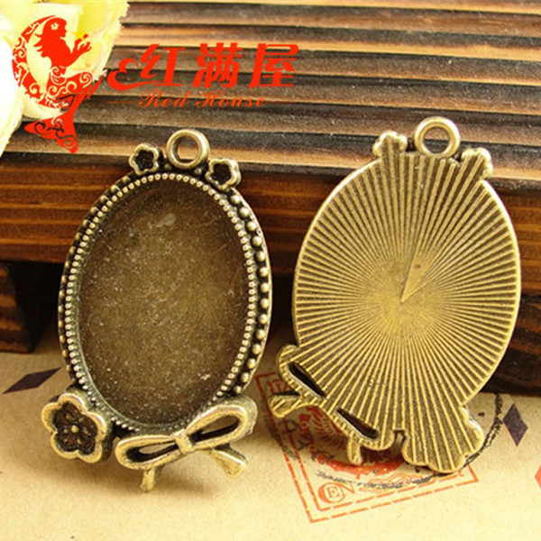 37*25MM Fit 25*18MM Antique Bronze oval metal stamping blanks, tibetan silver cameo cabochon setting, bezel pendant blank tray