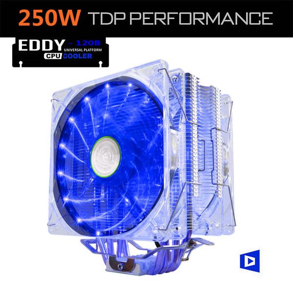 ALSEYE EDDY-120BL CPU-Kühler TDP 250W Dual 4pin LED 120mm Lüfterkühler für LGA 775/1150/1151/1155/1366 / AM2 / AM3 / AM4