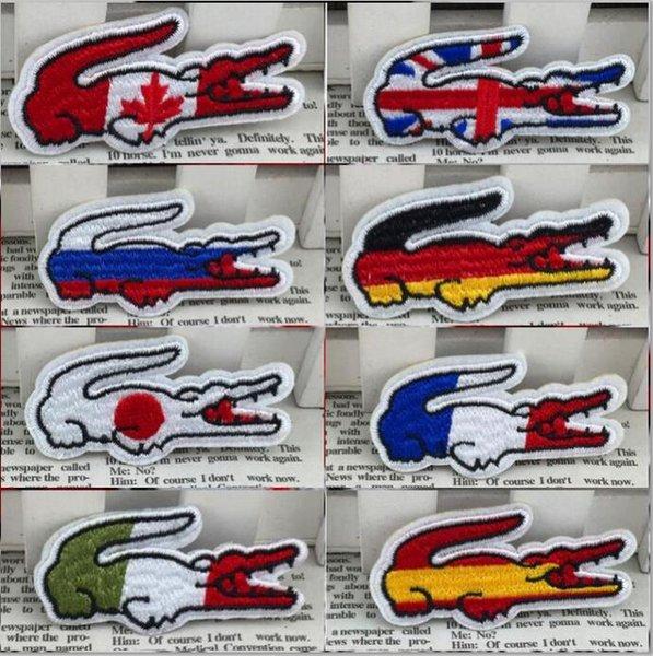 DHL free france flag UK flag Crocodile Flag of Netherland Embroidered Polska Patches for clothing Iron on Patch Eco-friendly Handmade