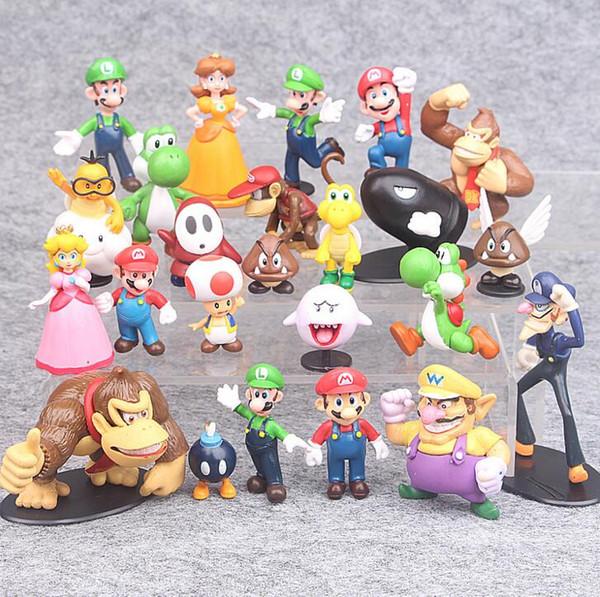 3-7cm Super Mario Bros PVC Action figures Toys Yoshi Peach Princess Luigi Shy Guy Odyssey Donkey Kong Model Dolls 22Pcs/Set B11