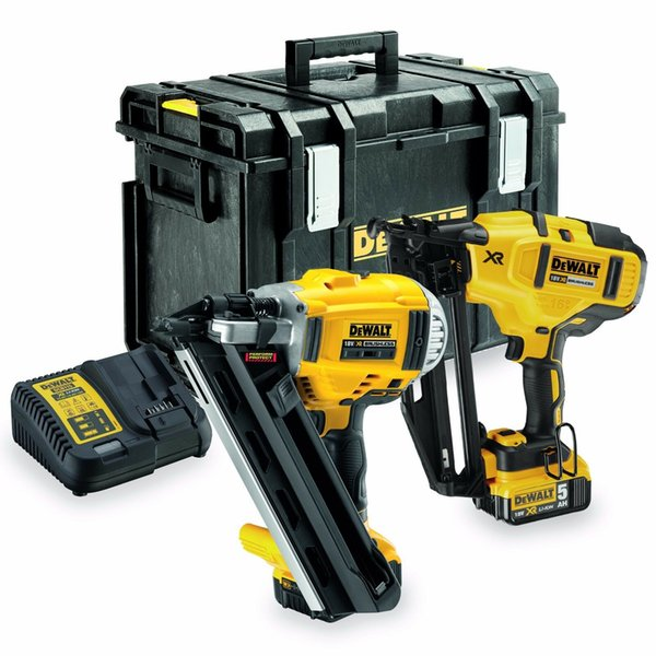 New dewalt dck264p2 18v 2 x 5 0ah li ion xr 1 t and 2nd fix nailer twin pack