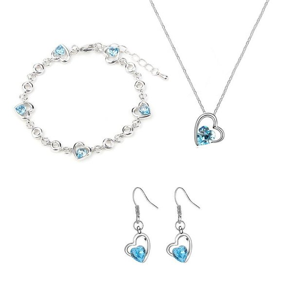 Blue Red Crystal Heart Necklace Bracelets Earrings Jewelry Sets Fashion Wedding Jewelry for Women Gift Drop Shipping