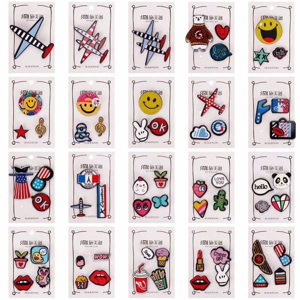 1-4 pcs/set Creative Cartoon Bear Panda Heart Music Note Smile Airplane Brooch Button Pins Denim Jacket Pin Badge Jewelry#247187