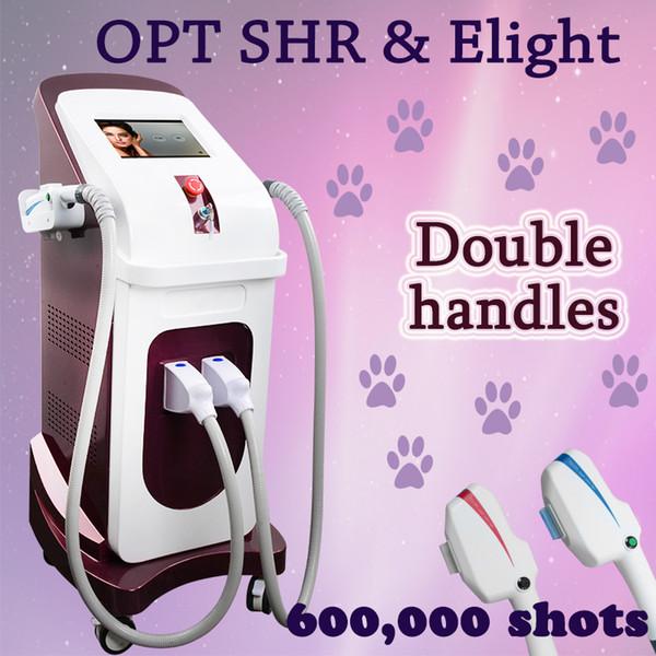 Doppelgriff OPT SHR Laser-Haarentfernungsmaschine Painless Elight Hautpflege dauerhaft Haarverkleinerungs-Schönheitsausrüstung IPL-Maschine