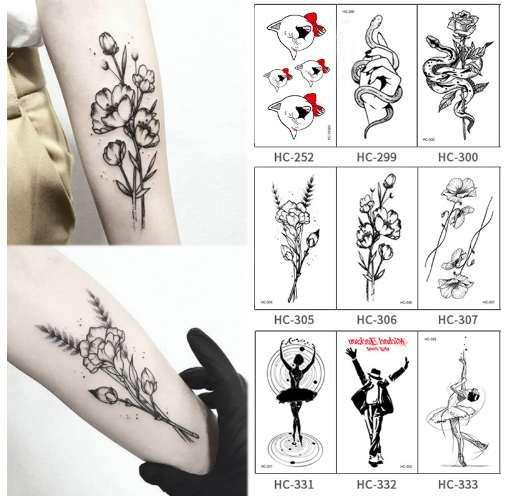 Acheter Chaude Populaire Ballet Noir Blanc Fleurs Tatouages Autocollant Dessin Temporaire Corps Art Faux Eau Transfe De 677 Du Bingggo