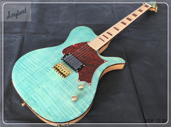 electric guitar,see thru thin blue body top and back with flame grain,maple neck and fingerboard,red tortoise binding and pickguard!