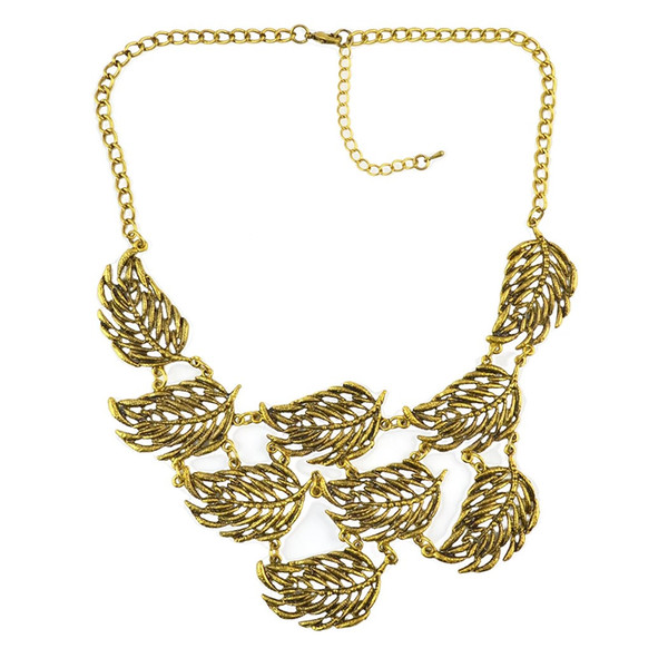 best selling Fashion Gold Metal Leaves Pendant Choker Necklaces for Women Bohemian Party Jewelry
