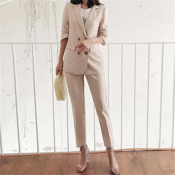 Custom fashion women's ladies suit two-piece suit (coat + pants) ladies wild double-breasted pink suit ladies business dress