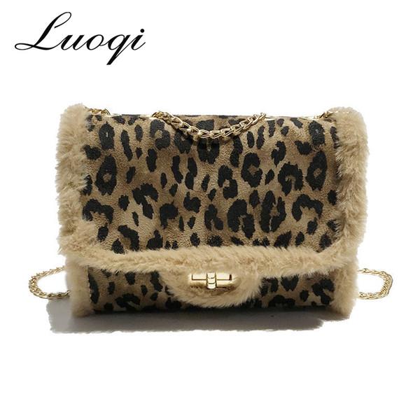 Bolsa De Luxo de inverno Mulheres Sacos de Designer de Estampa de Leopardo Feminino Faux Fur Sacos Crossbody para As Mulheres Sac A Principal Saco Do Mensageiro Das Senhoras