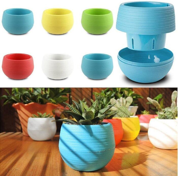 6*6.5cm Mini Flower Pots Round Plastic Leak Water Hole Design Flowerpot Garden Bonsai Pot Succulent plant tool home decor planters CYF3038-A