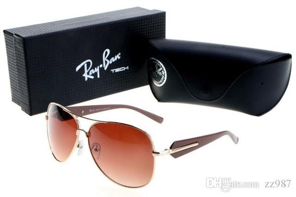 Alta calidad Lente de cristal Marcas Gafas de sol Gafas de sol Hombres Mujeres 58MM los 62MM Tendencias Gafas Shade caja piloto Caso Mercurio Espejo UV400 mayorista