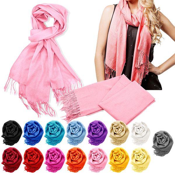 top popular Cheap wholesale Pashmina Cashmere Silk Solid Shawl Wrap Unisex Long Range Scarf Women's Girls Ladies Scarf Pure 40 Color 2020