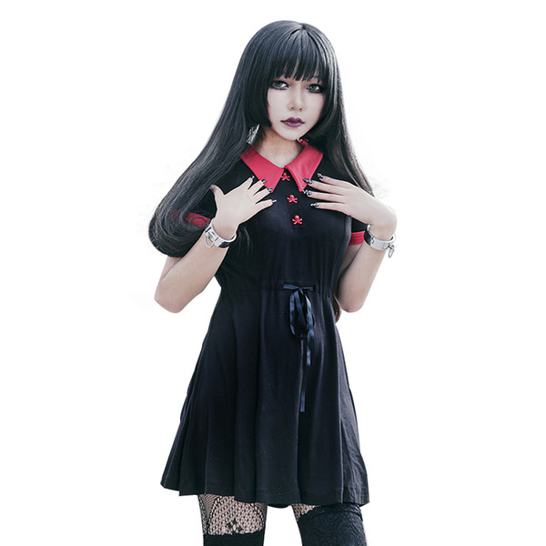 Gothic Dress Red Peter Pan Collar Chic Skull Button A-line Casual Cotton Women Dresses Doom Dress T4190604