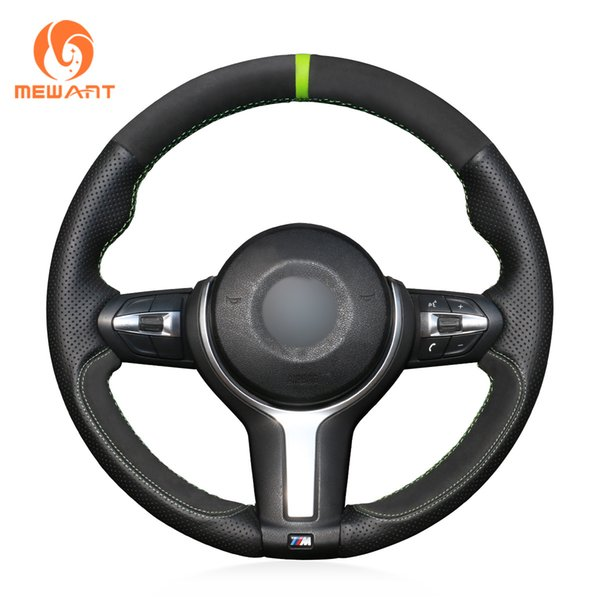 MEWANT Black Genuine Leather Suede Car Steering Wheel Cover for BMW F87 M2 F80 M3 F82 M4 M5 F12 F13 M6 F85 X5 M F86 X6 M F33 F30 M