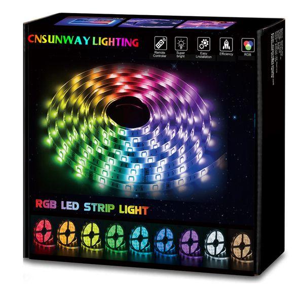 Rgb Led Strip Light 5050 50m 100m Ip20 Led Light Rgb Leds Tape Led Ribbon Flexible Mini Rf Controller Dc12v Adapter Set Led Light Strips For Trucks