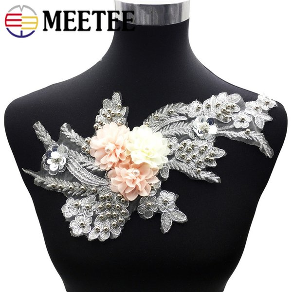 5Pcs 30*16cm 3D Pearl Water Soluble Mesh flower Applique Beaded Sequins Patches For Clothing Wedding Lace Trims DIY Sewing BD394