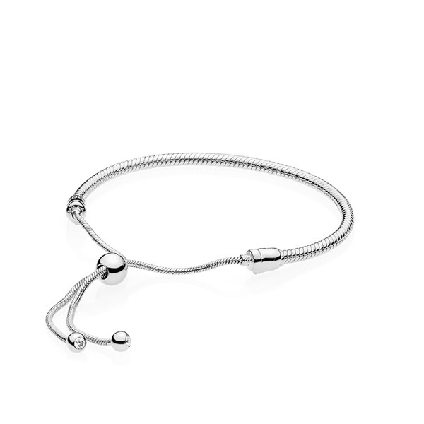 top popular Authentic 925 Sterling Silver Hand rope Bracelets for Pandora Adjustable size Women Wedding Gift Jewelry Bracelet with Original box 2021