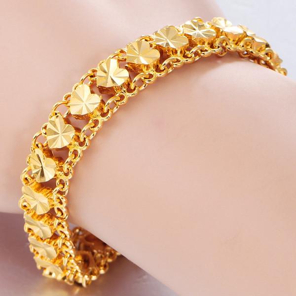 Luxury 24 K Dubai Plated Gold Love Heart Bracelet Bangles For Women Charm Chain Link Bracelet Femme Bijoux Gift for Wife