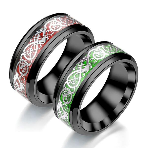 Roi Will Dragon Tungstène Anneaux En Acier 8mm Vert Rouge En Fiber De Carbone Noir Blanc Celtic Dragon Carbure Anneau pour Hommes Confort Fit Bande De Mariage