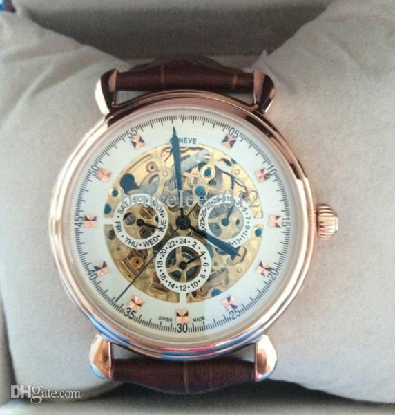 Luxo homens suíços mecânicos automáticos esqueleto de ouro relógios famosos mens relógios de pulso moda VC mostrador preto pulseira de couro marrom relógio