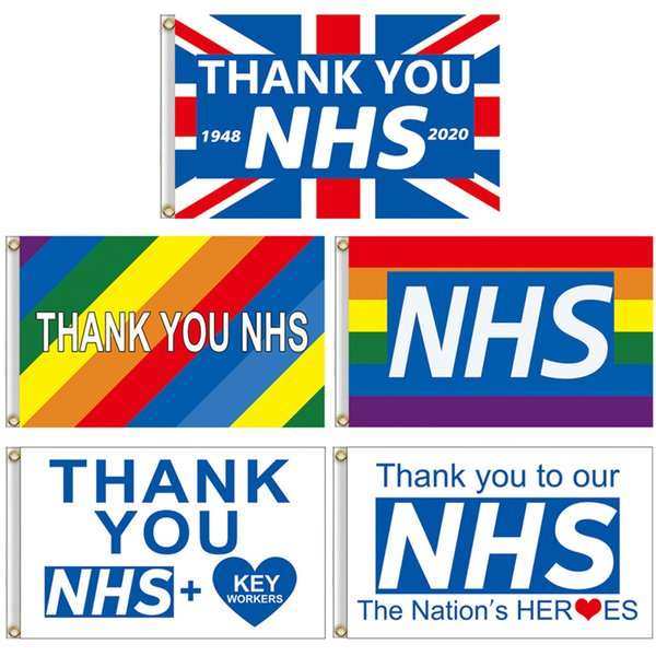 top popular Thank You NHS Hand Flag 90*150cm Rainbow flags UK Banner Thank You Key Workers flag Banners for England Scotland Wales JJ408 2021