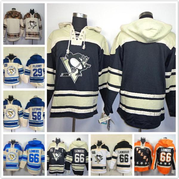 Personalizados Pittsburgh Penguins hoodies Kris Letang 66 Mario Lemieux 87 Sidney Crosby 59 Jake Guentzel 71 Evgeni Malkin 30 Matt Murray Pullovers