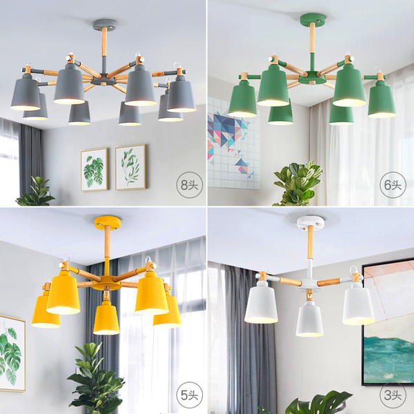 Ceiling Chandelier 3/5/6/8 Lights Living Room LED Chandeliers Lighting Macaron Lamp Nordic Lights Solid Wood Craft Lamps