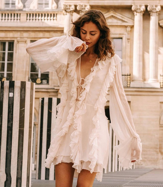 Hohe qualität 2019 luxus designer langarm gürtel rüschen plissee tiefem v-ausschnitt sexy frauen mini dress strand berufung kleidung