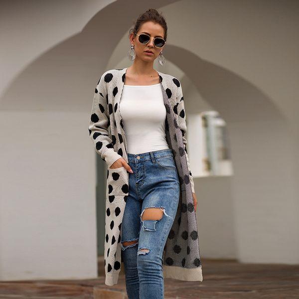 Cardigan Women Long Sleeve New Female Elegant Pocket Knitted Outerwear Sweater High Quality SJ3086