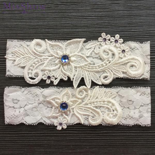 2pcs Wedding Bridal Garter ivory Lace Flower Rhinestone Garter Women Bride Garter Set Accessories Elastic Lace Bride