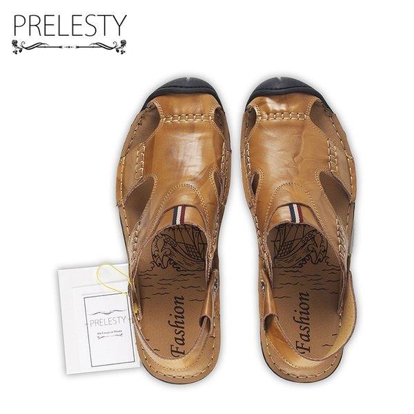 Großhandel Prelesty Summer Herren Closed Toe Sandalen Formal Dress Slip On Schuhe Freash Cool Two Style Split Rindsleder Klassische Hausschuhe Von