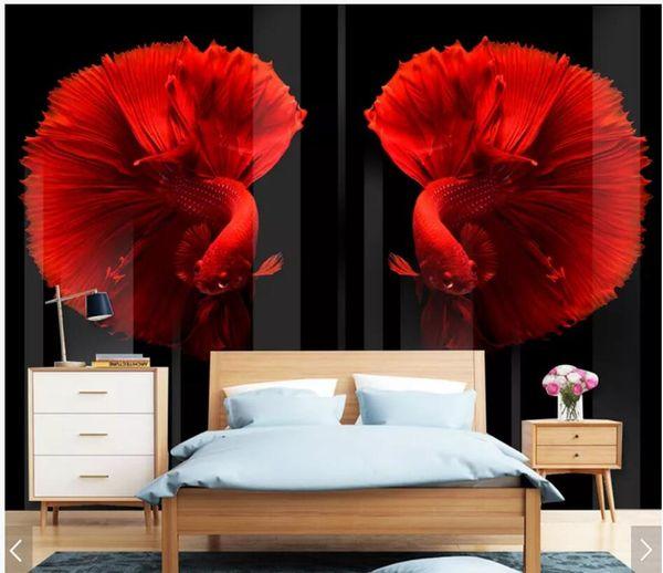 WDBH 3d wallpaper custom photo HD embossed modern retro personalized color fish decor living Room 3d wall murals wallpaper for walls 3 d