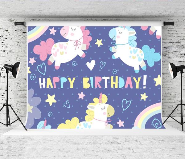 Acheter Rêve 7x5ft Joyeux Anniversaire Photographie Toile De Fond Bande Dessinée Licorne Peinture Décor Fond Pour Bébé Fête D Anniversaire Photo Booth
