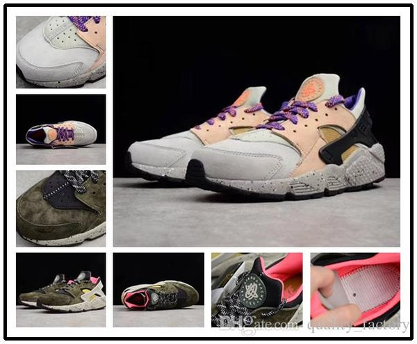 Classic Top Quality Huarache Run Premium Sneaker Black Desert Moss Linen Golden Beige Sport Men Running Shoes size 40-44