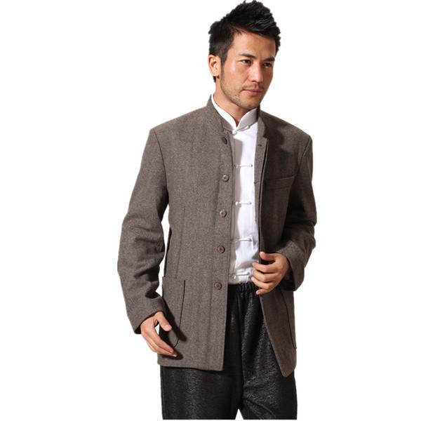 2017 nouvelle arrivée brun chinois traditionnel hommes veste manteau de laine à rayures costume tunique chinois d'âge moyen S M L XL XXL XXXL