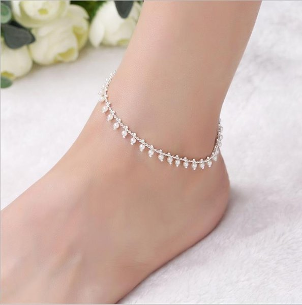 Euro-American Hip-hop Fashion Individual Accessories Simple Layer Pearl Foot Chain Female Foot Chain Bracelet Beach Foot Jewelry
