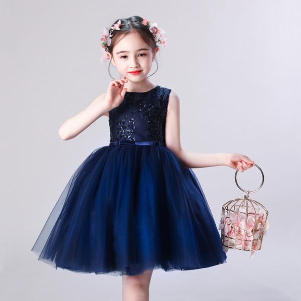 Compre Vestido Azul Marino A Line Folwer Para Niñas 2019 En Stock Falda Corta Para Niños Hasta La Rodilla Vestido Formal Para Niñas Vestidos De Fiesta