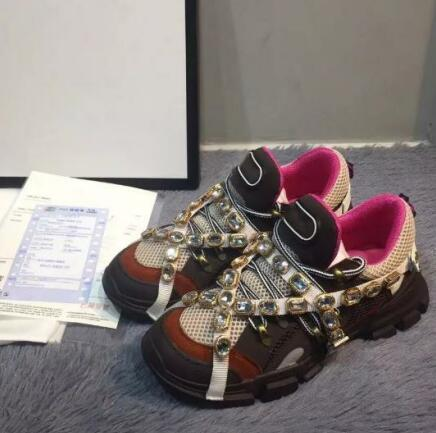 Nuevo Diseñador Zapatos casuales Cinturón de diamantes Zapatos Zapatos casuales de cuero completo Botas de trekking con cordones Zapatillas de cuero genuino ouy52