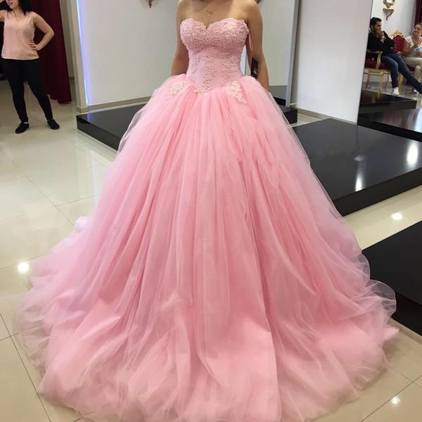 Compre Vestidos De Fiesta De Fiesta De Quinceañera Baratos De Color Rosa Vestido De Novia De Encaje Apliques De Lentejuelas Plisado Largo Nuevo Dulce