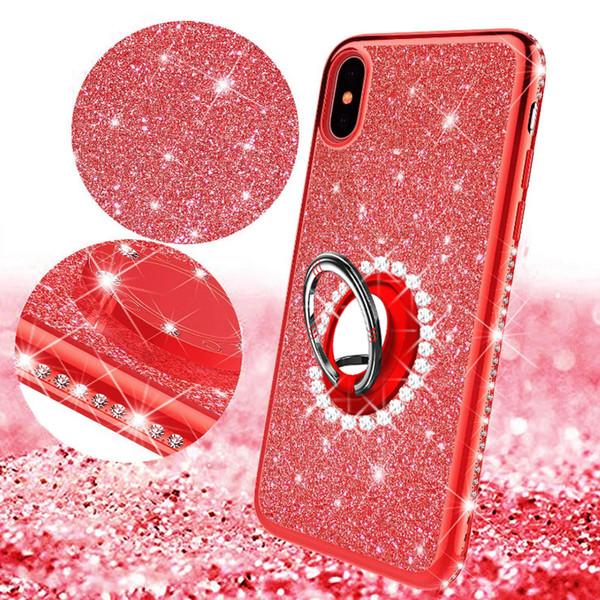 Glitter brilhante caso de Bling para o iphone 6 6s 7 8 mais x xr xs max com kickstand Extremamente magro 2 em 1 transparente claro casos de strass