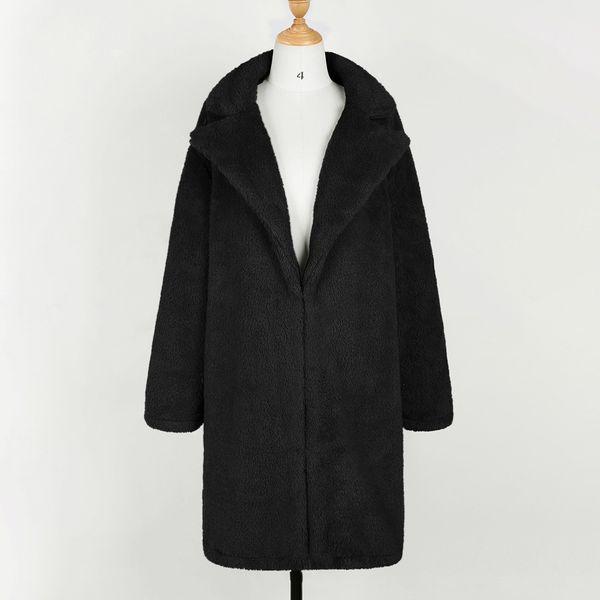 Women Lapel Warm Coat Cardigan Jacket Long Sleeve Artificial Fleece Outwear Casual Ladies Autumn Winter Trench Solid