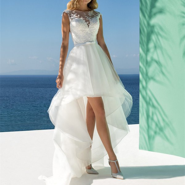 2019 modern white organza a line wedding dresses floor length hi-lo bohemain wedding gowns sheer neck beach bridal dresses with belt