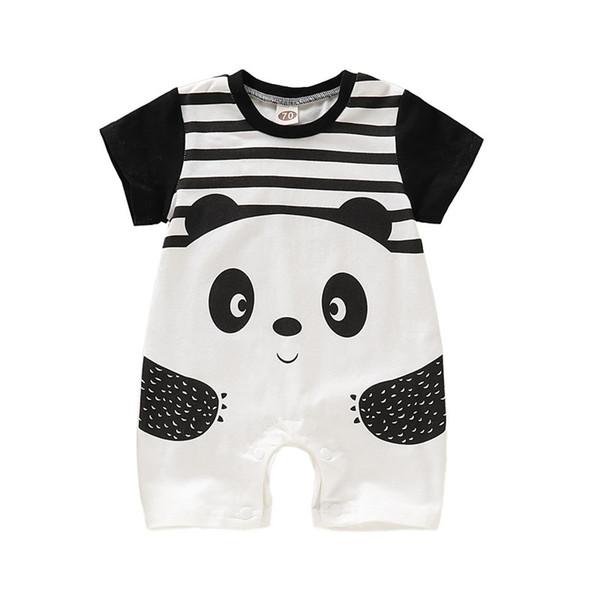 Yenidoğan Bebek Karikatür Bodysuit Çocuklar Tasarımcı Erkek Kız Çizgili Panda Tulum Bebek Bebek Romper Yaz Ince Çocuk Giyim 06