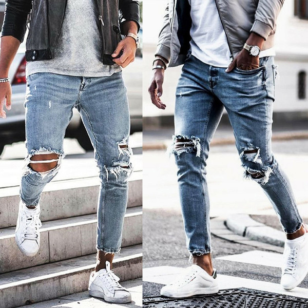 Mens Spring New Ripped Jeans Denim Blue Holes Hombres Street Abbigliamento Casual Long Pencil Pants