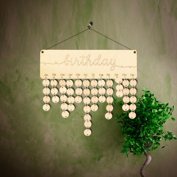 Celebraciones Calendario láser cortar madera Guión de cumpleaños tarjeta de madera Placa fiesta de cumpleaños Día de la pared del hogar decoración de la familia