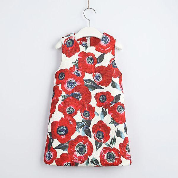 Red Flower Printed Sleeveless A-shaped Dress Korean Girl princess Dress kids boutiques skirts cheongsam children clothes