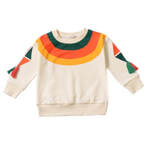 Children's Clothing Rainbow Print Sweatshirts Boys Girl Autumn Winter Pullover Tops Baby Cotton Tassel Long Sleeved T-shirt