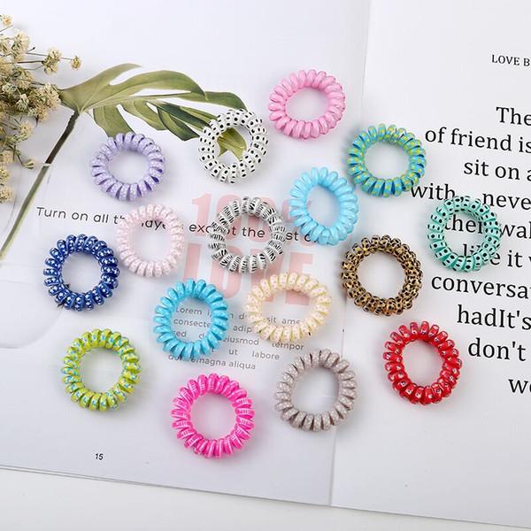 Alta Calidad 4mm Estampado de flores Cable de teléfono Cable Cordón para el cabello Cuerdas Elásticas para el cabello Goma Elástica Scrunchy