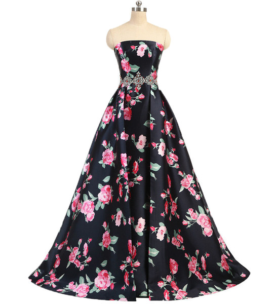 top popular Real 2020 Strapless Prom Dresses Flower Print Satin Ball Gown Formal Dress Evening Party Wear Beaded robes de soirée 2020
