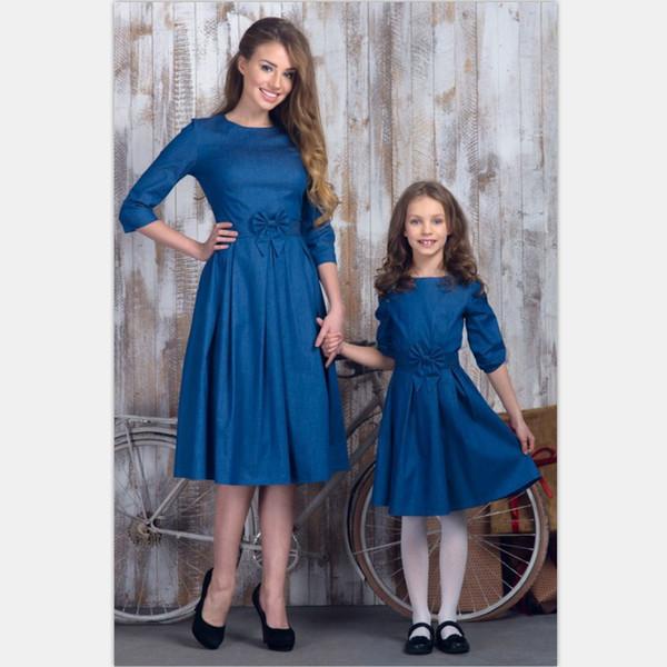 Vestiti Eleganti Mamma E Figlia.Acquista Mommy And Me Madre Figlia Abiti Famiglia Abiti Eleganti